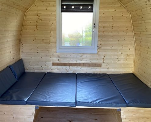 Inside the Camping Pods at Bruces Cave